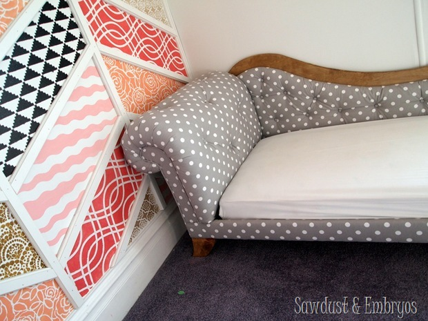 Patchwork Stenciled Accent Wall and DIY Fainting Couch Toddler Beds! {Sawdust and Embryos}