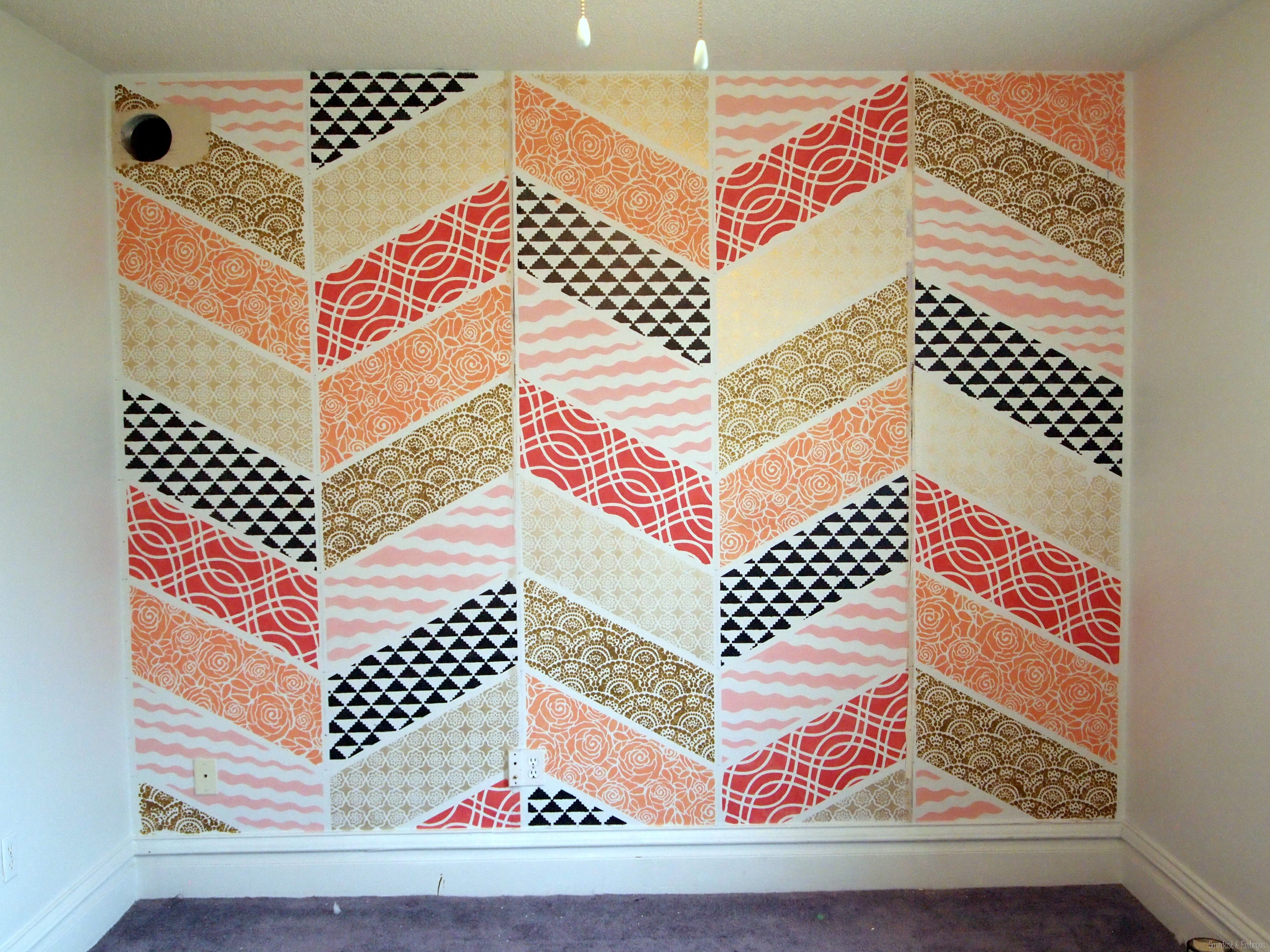 Stenciled herringbone patchwork wall reality daydream stenciled patchwork herringbone accent wall sawdust and embryos amipublicfo Gallery