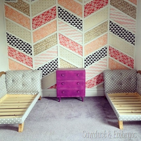 Herringbone Stenciled Accent Wall with Toddler Bed  Fainting Couches {Sawdust and Emrbyos}