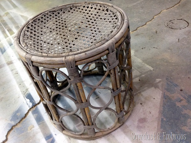 Bamboo End Table turned into gorgeous Chandelier Pendant lights! {Sawdust and Embryos}