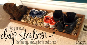 Make your own drip station for muddy/snowy boots and shoes | Reality Day Dream
