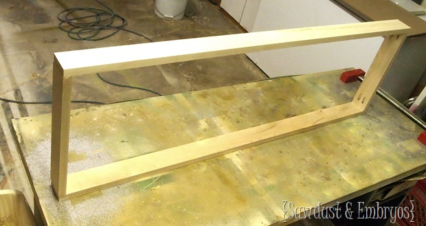 Building a frame for the 'Drip Tray' to hold muddy shoes and boots {Sawdust and Embryos}