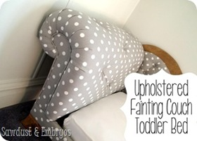 Check out this DIY Tufted Fainting Couch Toddler Bed TUTORIAL!