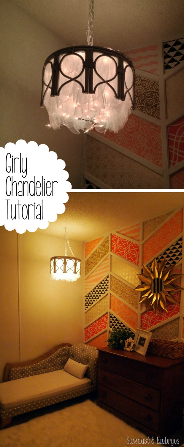 DIY chandelier using a bamboo end table, a tomato cage, tulle, and twinkle lights! {Sawdust & Embryos}