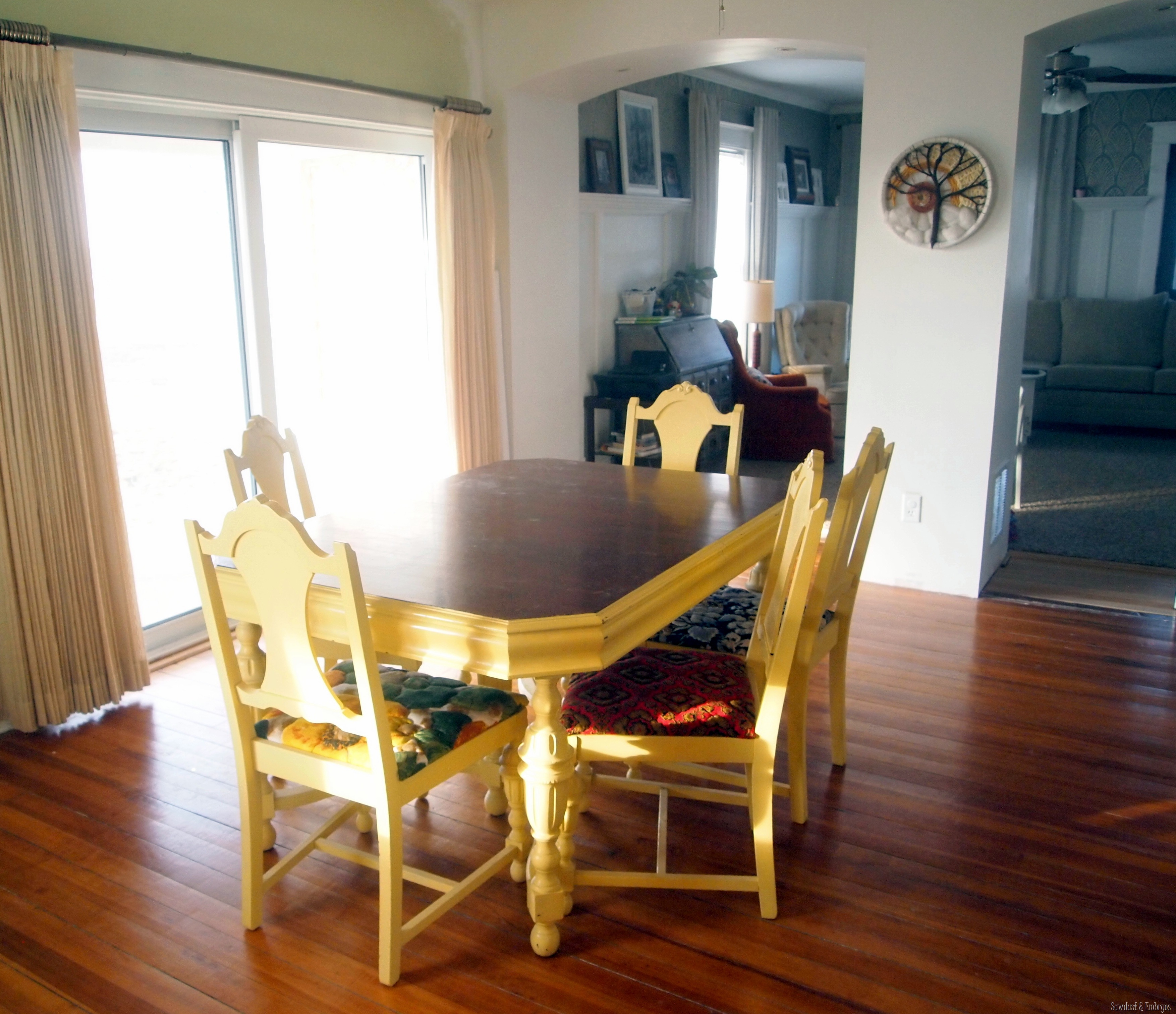 Yellow painted kitchen tables - Granny S Dining Table Sawdust And Embryos