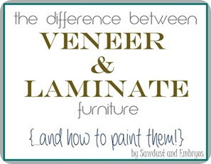 Learn about the difference between veneer and laminate furniture... and how to paint them! {Sawdust and Embryos}