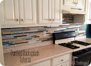 Paint your backsplash to look like tile {Sawdust and Embryos}