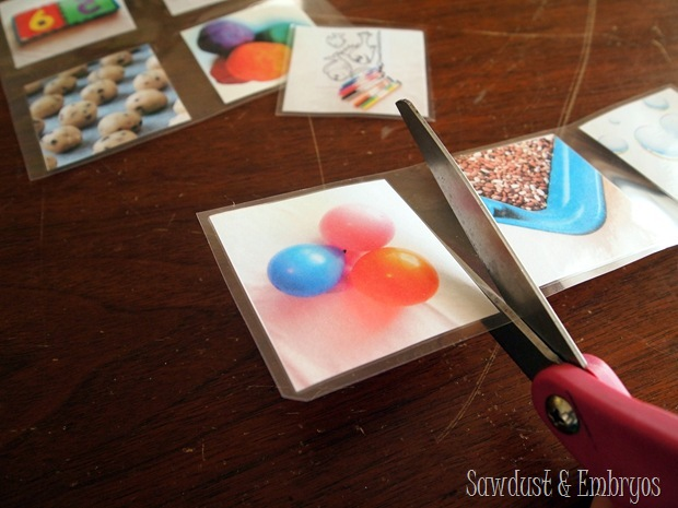 Photograph and laminate activities for toddlers to choose from when they're bored! {Sawdust & Embryos}