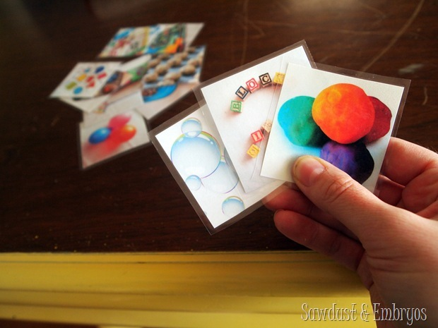 Photograph and laminate activity cards for toddlers to choose from when they're bored {Sawdust and Embryos}