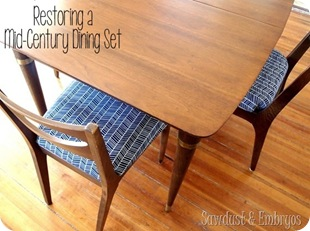 Restoring a Mid-Century Dining Set {Sawdust and Embryos}