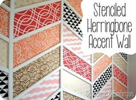 This stenciled herringbone accent wall turned out awesome!