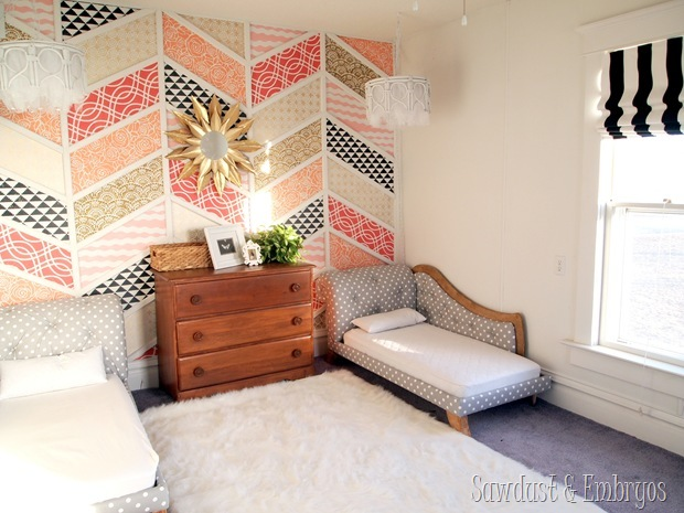 Twin girls' room reveal {and chandelier tutorial} www.sawdustandembryos.com