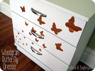 Woodgrain Butterfly Stencil Dresser {Sawdust and Embryos}