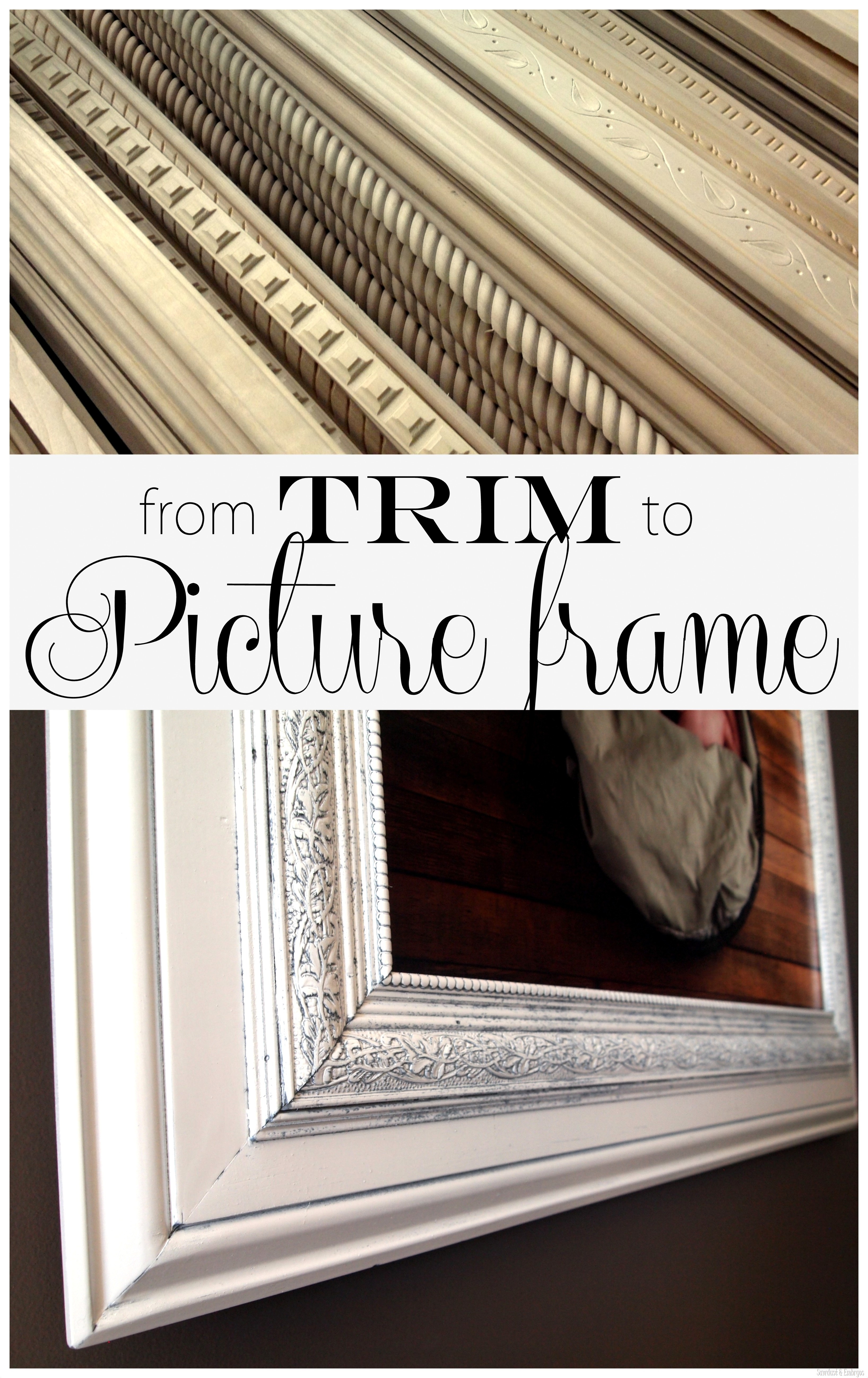 Beautiful Build Your Own Custom GIANT Picture Frame Using Layered Trim Pieces!  {Sawdust U0026 Embryos