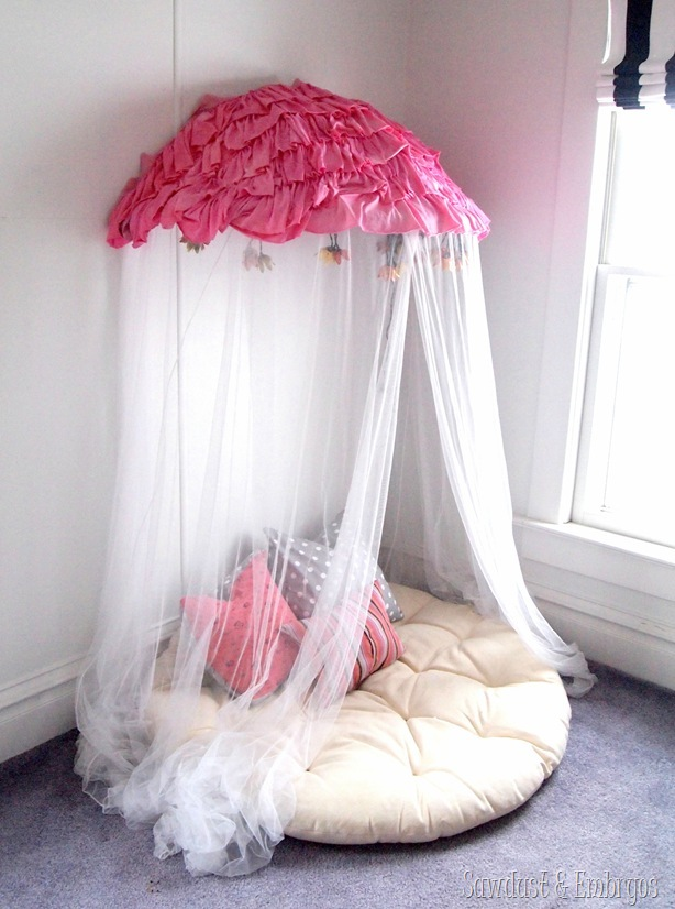 Children's canopy using a papasan chair frame