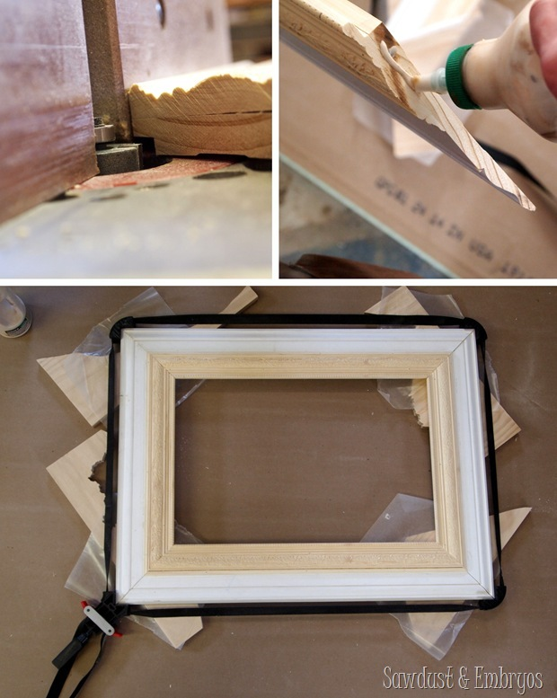 Make your own GIANT picture frame using trim pieces!