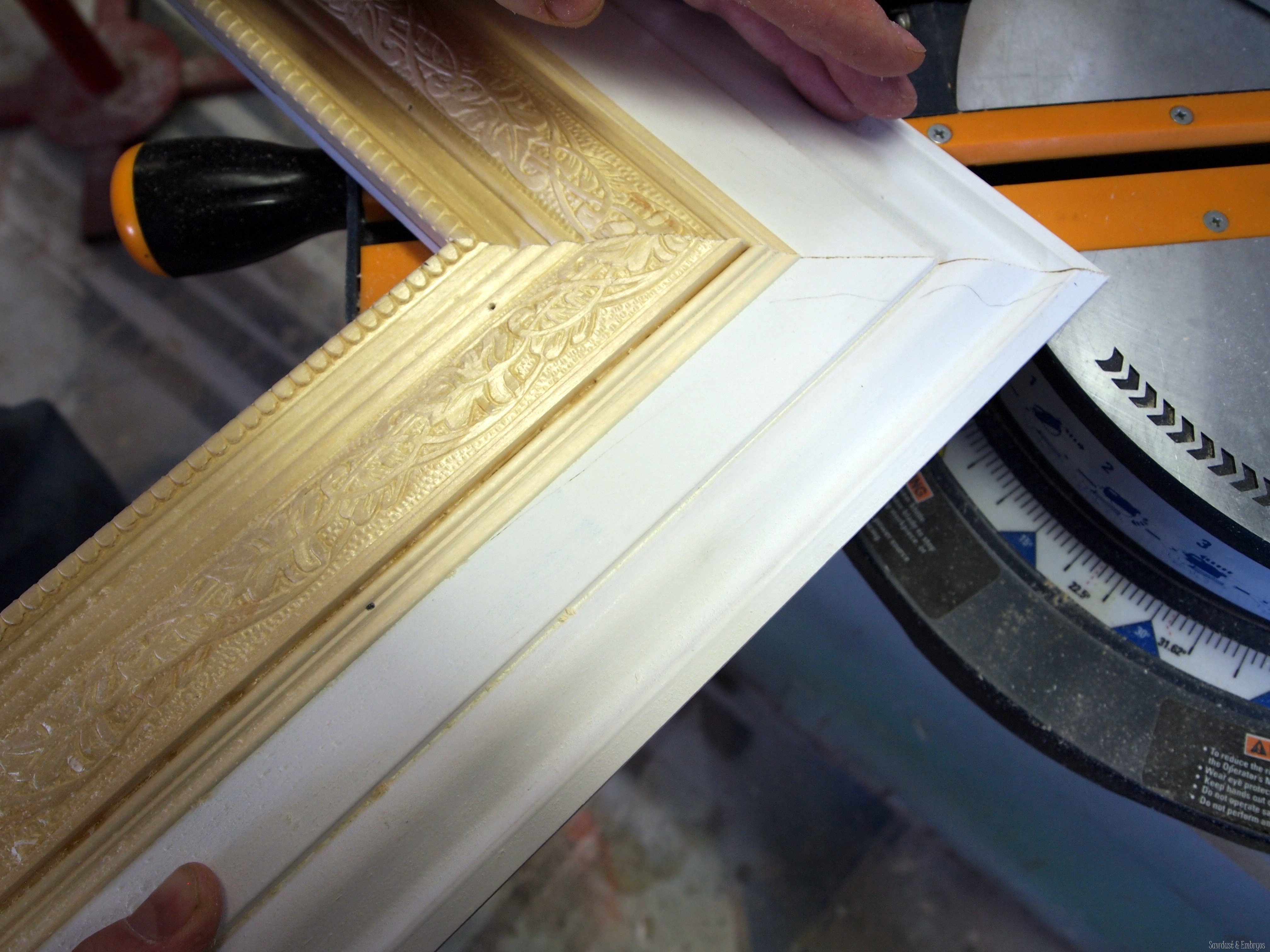 making a giant picture frame using trim pieces sawdust and embryos