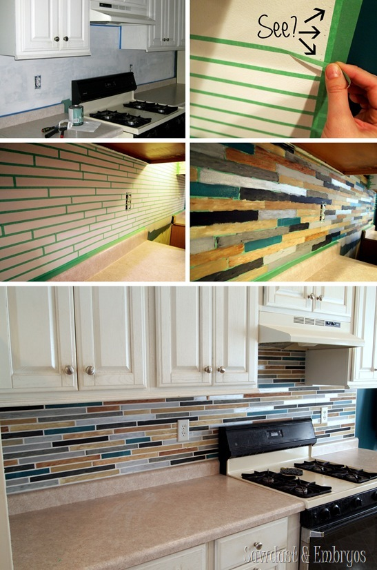 PAINT your backsplash to look like custom tile! {Sawdust and Embryos}