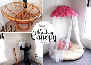 Take an old Papasan Chair, slice it in half, and mount it on the wall with a mosquito net draped over! PERFECT girly canopy or reading nook!