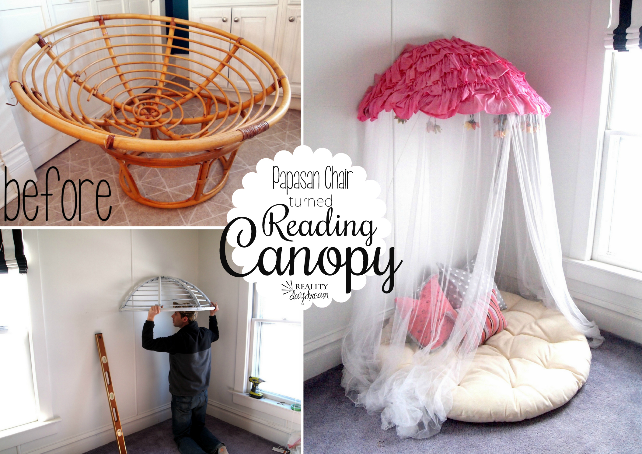 Old Papasan turned Canopy / Reading Nook & Old Papasan turned into a Papasan Canopy Reading Nook!