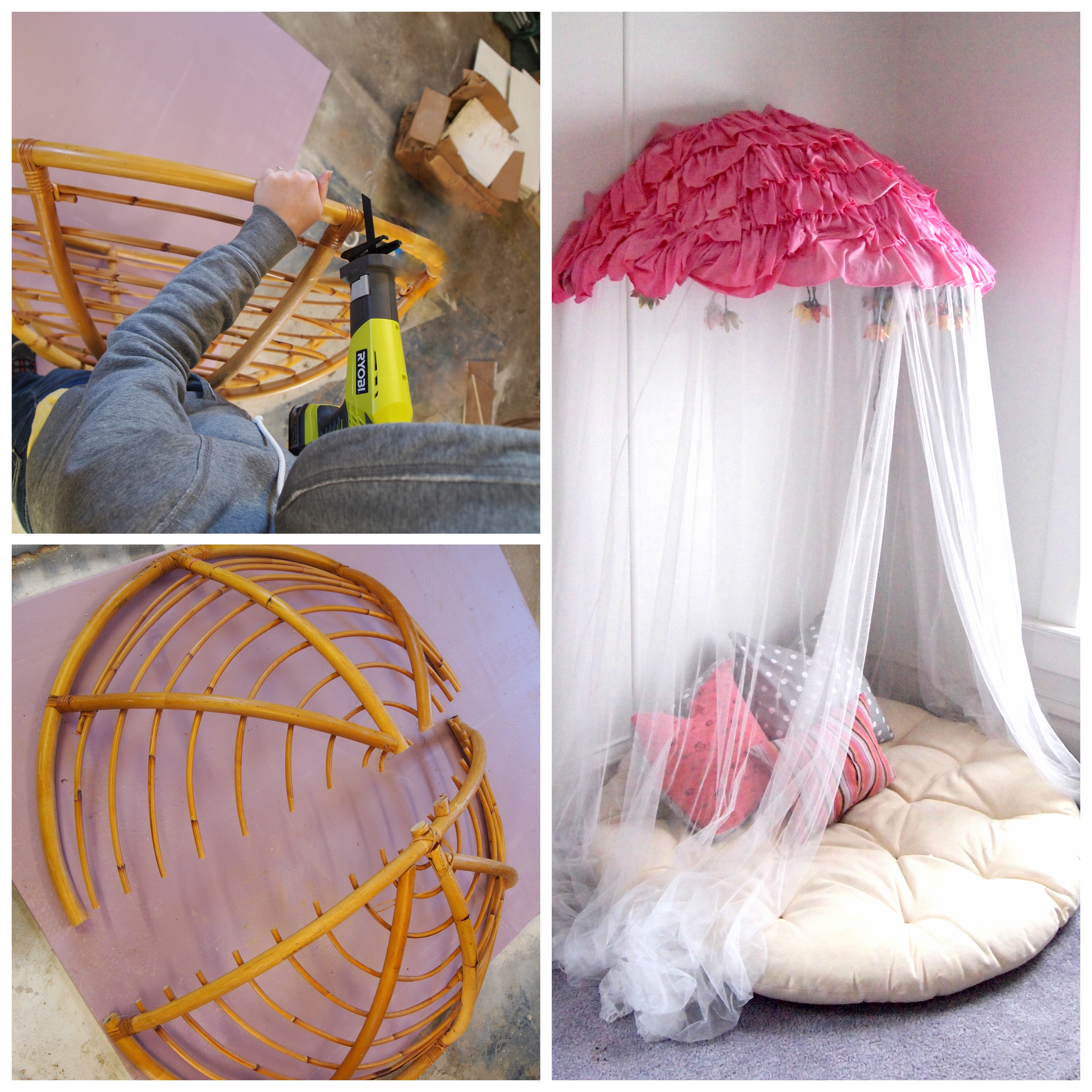 Old papasan turned into a papasan canopy reading nook for Kids reading corner ideas