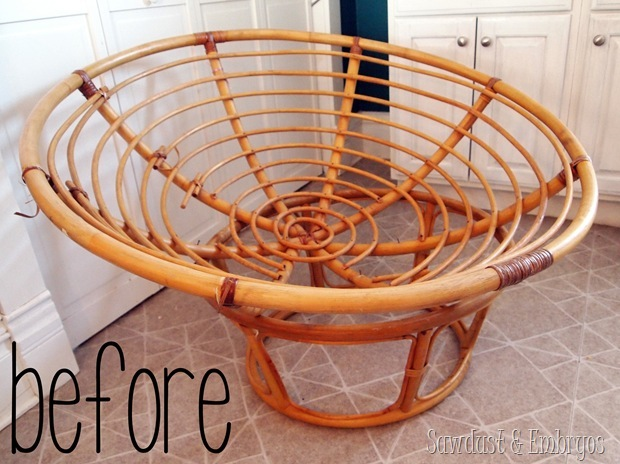 Turn a papasan frame into a canopy reading nook for kids! {Sawdust and Embryos}