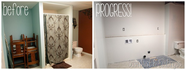 Turning a giant bathroom into a dreamy laundry room!