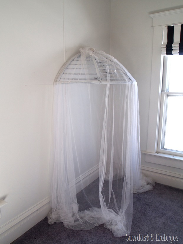 Use a papasan frame (cut in half) to make a canopy for a kids room! {Sawdust and Embryos} (2)