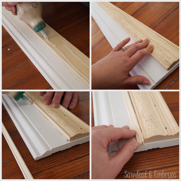 Glue trim pieces together to make your own custom frame.