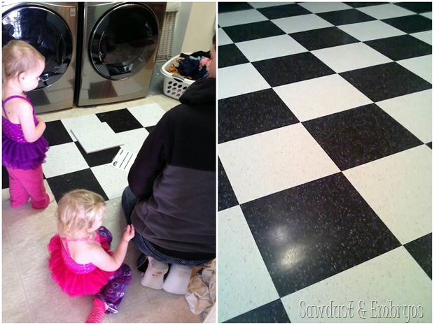 CVT Commercial Vinyl Tile in Laundry Room {Sawdust and Embryos}