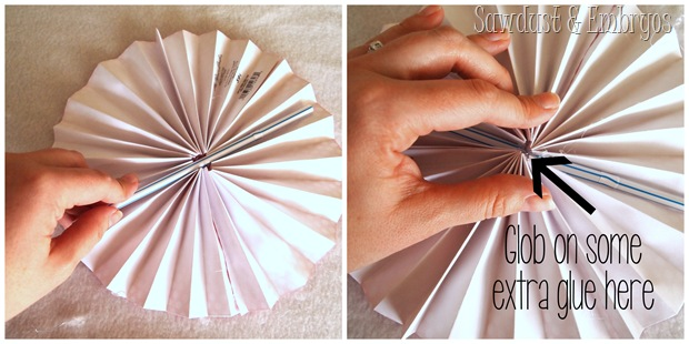 Take a straw or popsicle stick and glue it down the center of your flattened pinwheel to give it some stability