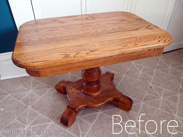End Table BEFORE pic {Sawdust and Embryos}