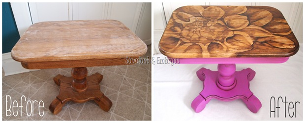 End table transformation using 'Wood-Stained Art' technique by Sawdust & Embryos}