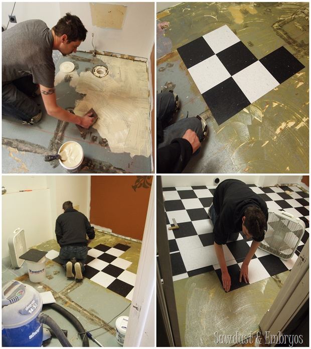 InstallingCVT flooring in laundry room transformation {Sawdust and Embryos}