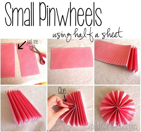 Make different size pinwheels for a pinwheel collage using scrapbooking paper {Sawdust and Embryos}