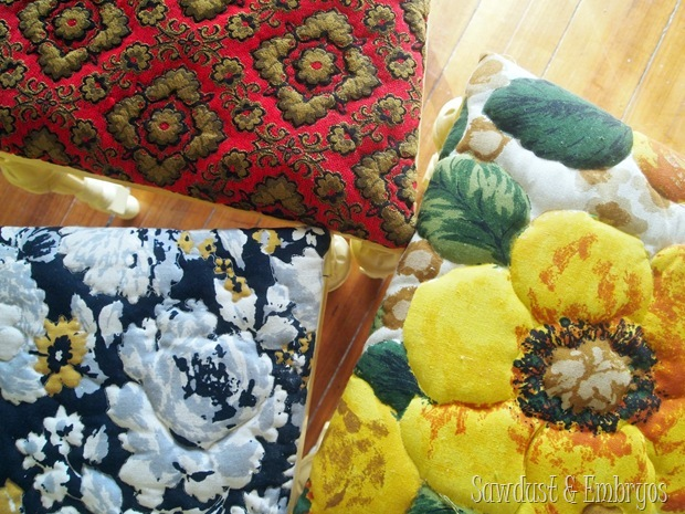 Mismatched Dining Chairs in Vintage Fabric {Sawdust and Embryos}