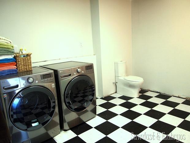 Operation Laundry Room... Flooring & Toilet PROGRESS {Sawdust and Embryos}