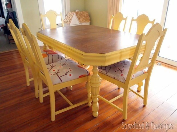 Refoaming and reupholstering dining chairs {Sawdust & Embryos}
