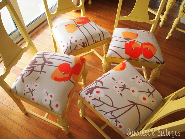 Refoaming and reupholstering dining chairs {Sawdust and Embryos}