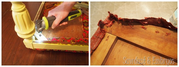 Removing grody fabric from dining chairs in prep for re-foaming and reupholstering! {Sawdust and Embryos}