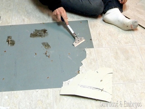 Removing peel-and-stick tile {Sawdust and Embryos} (2)