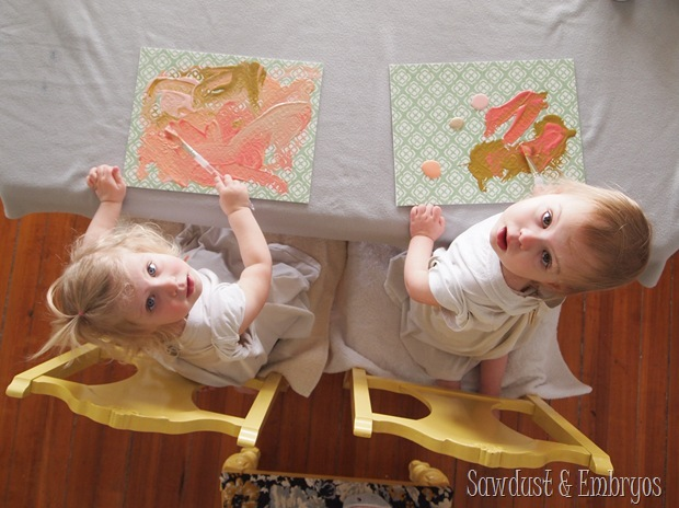 Toddler Artwork~ using vinyl as a stencil on canvas {Sawdust and Embryos}