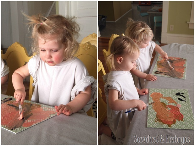 Toddler Artwork... using vinyl as a stencil on canvas (Sawdust & Embryos)