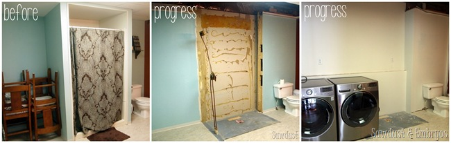 Transforming a large bathroom into a dreamy laundry room PROGRESS! {Sawdust and Embryos} (2)