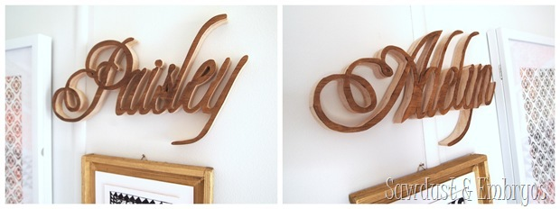Wooden names cut with scroll saw {Sawdust and Embryos}