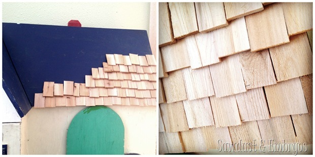 dollhouse wood-shim roof {Sawdust and Embryos}
