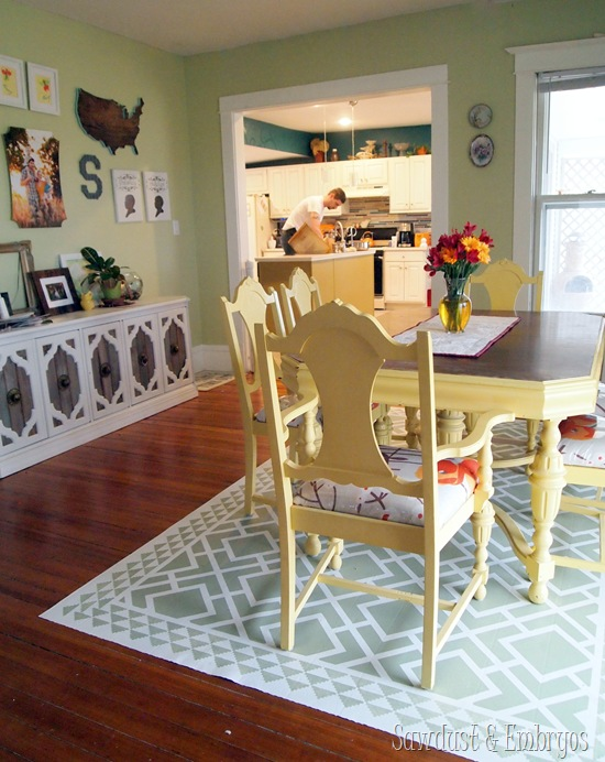 DIY Painted linoleum 'area rug' for dining area