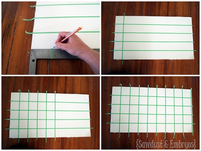 Learn how to tape up a grid to paint a subway backsplash! {Sawdust and Embryos}