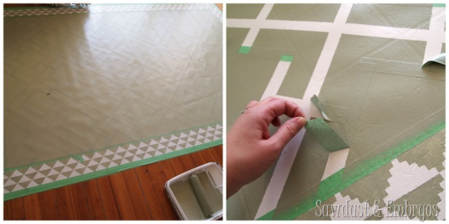 DIY Painted Linoleum Area Rug!