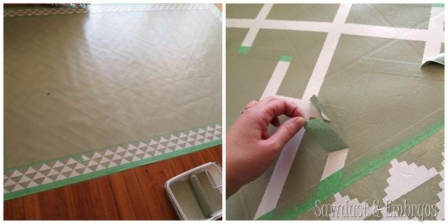 DIY Painted Linoleum Area Rug!
